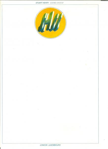 Stuart Henry Sound Systems letterhead